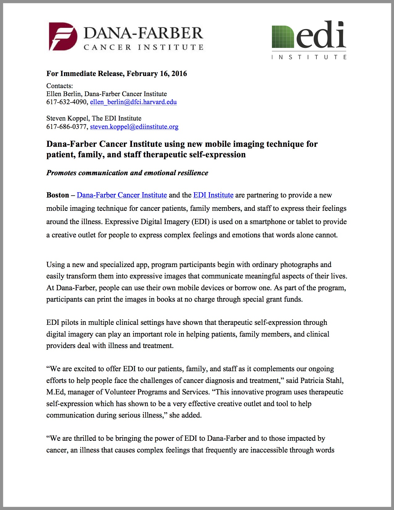 Press Release: Dana-Farber Cancer Institute using new mobile imaging technique for patient, family, and staff therapeutic self-expression