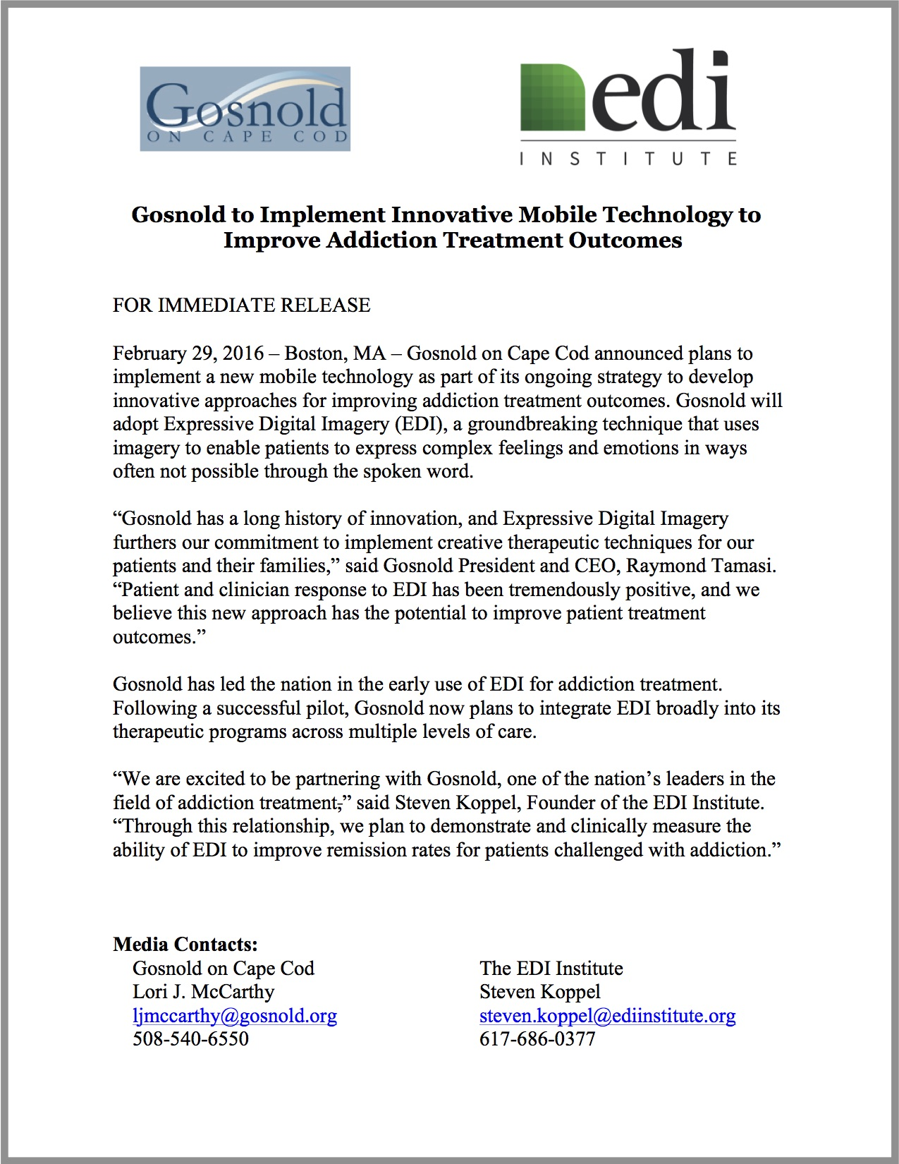 Press Release: Gosnold to Implement Innovative Mobile Technology to Improve Addiction Treatment Outcomes